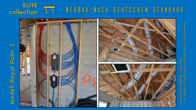 Picture of the installed manabloc system, air conditioning ductwork and plumbing pipes and lines