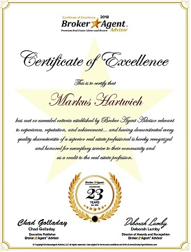 2018 Broker Agent Advisor Certificate of Excellence