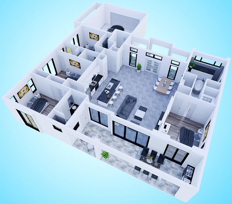 Bild Architektenentwurf des Neubaumodells Beach Cove mit dreidimensionaler Grundrissansicht von hinten
