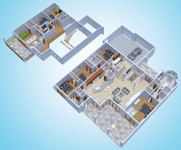 3d rendering The Riverside Dream Floor plan Cape Coral