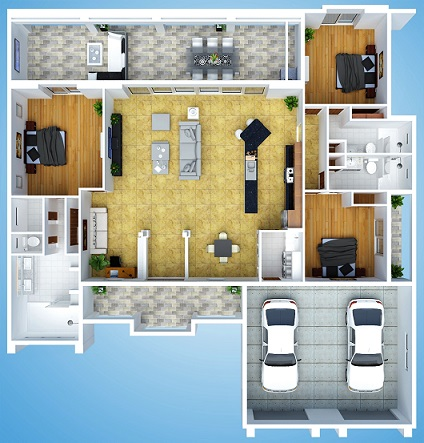 Picture of Artist Rendering of the New Costruction Model Royal Palm 1 with three dimensional floor plan view from above