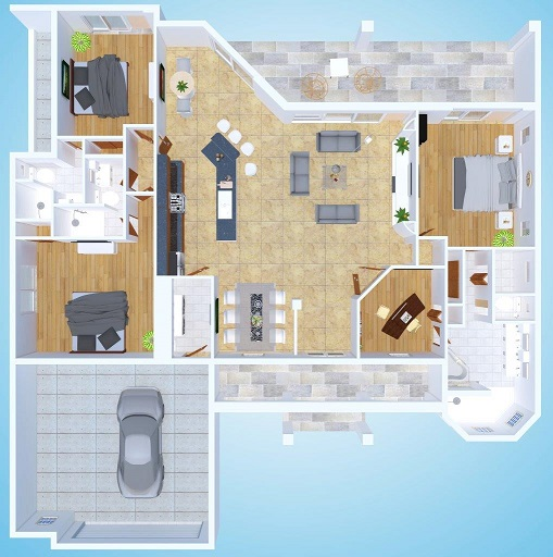 Picture of Artist Rendering of the New Construction Model Sunset Bay 2 version 1 with three dimensional floor plan view from above