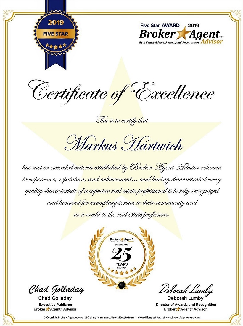 Picture showing a Certificate of Excellence for 2019 naming Markus Hartwich