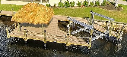Picture showing the completed boat dock with lift