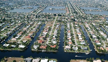 Picture showing the canals and lakes with a Cape Coral aerial