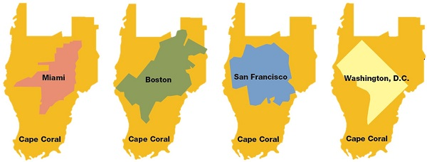 Picture showing the comparison between the size of Cape Coral and other major cities