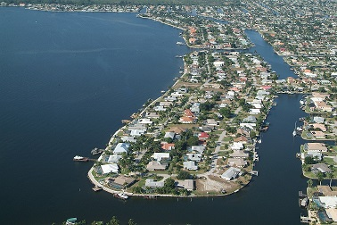 Picture of Cape Coral Florida from the air showing the southern areas at the river