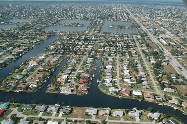 Picture of Cape Coral Florida from the air showing all its canals and homes