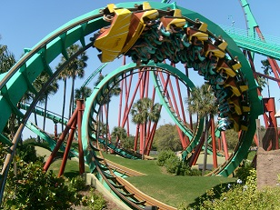 Picture showing a rollercoaster at Busch Gardens in Tampa Florida