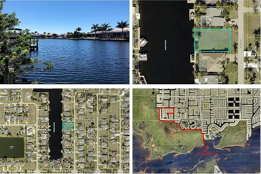Picture of the location of vacant lot in Cape Coral as a building site for new construction