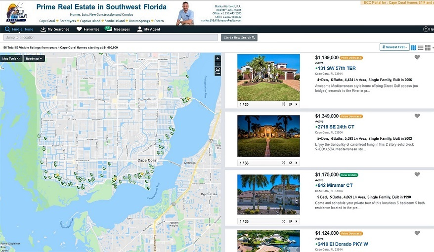 Picture of the client portal showing properties in details side by side with a map