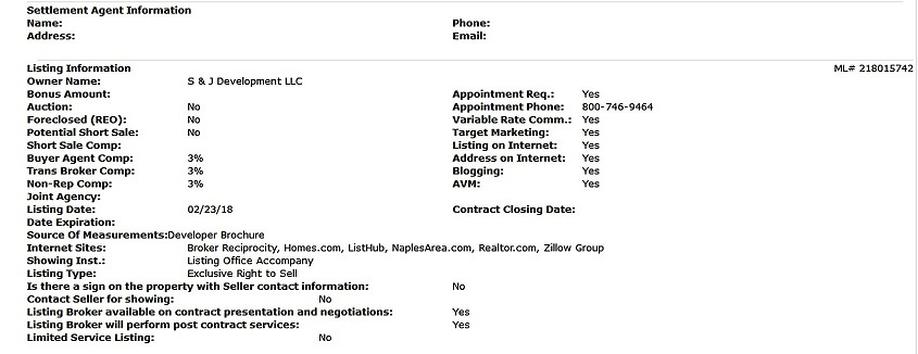 Picture 4 of the Listing information a client will see in the MLS with all property fields