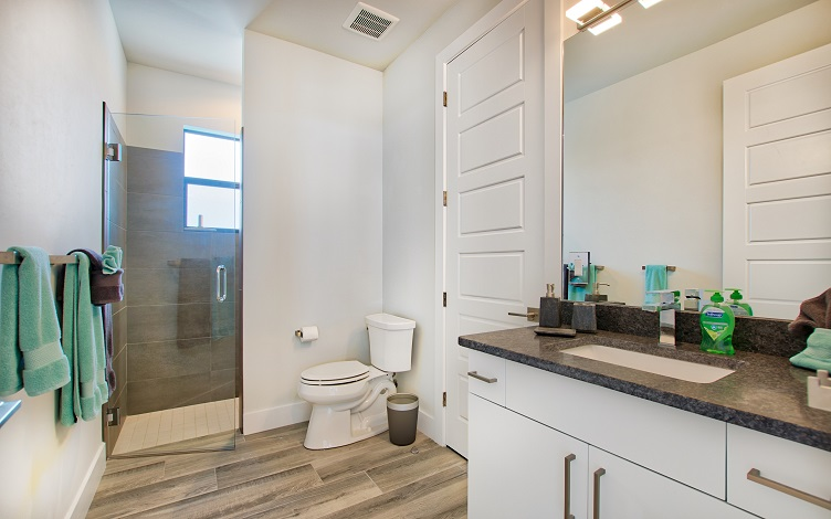 Picture of the New Construction Model Beach Cove viewing the guest bathroom 1