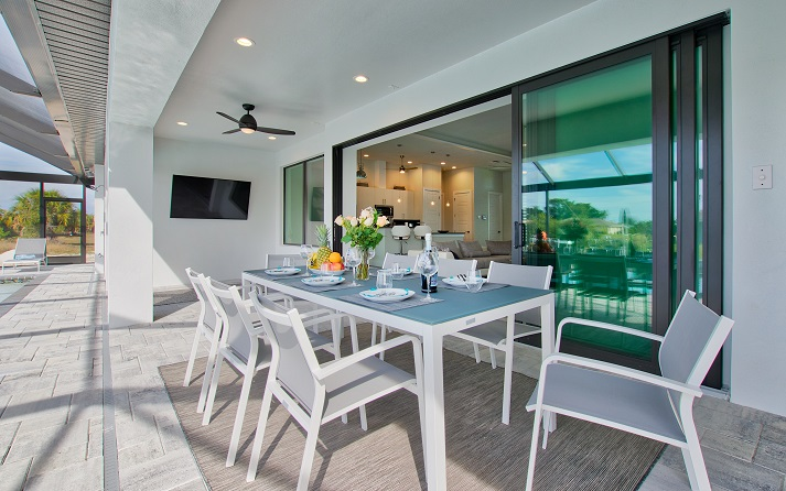 Picture of the New Construction Model Beach Cove viewing the terrace and lounge area