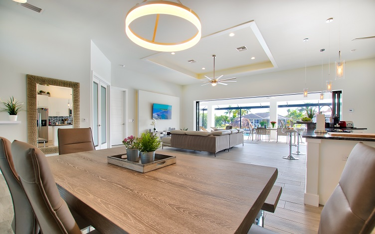 Picture of the New Construction Model Royal Palm 2 viewing the dining area and living room