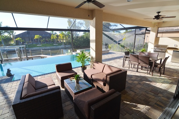 Picture of the New Construction Model Sunset Bay 2 version 1 showing the lanai and its view across the pool