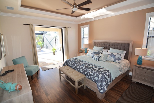Picture of the New Construction Model Sunset Bay 2 version 1 showing the master bedroom with pool view