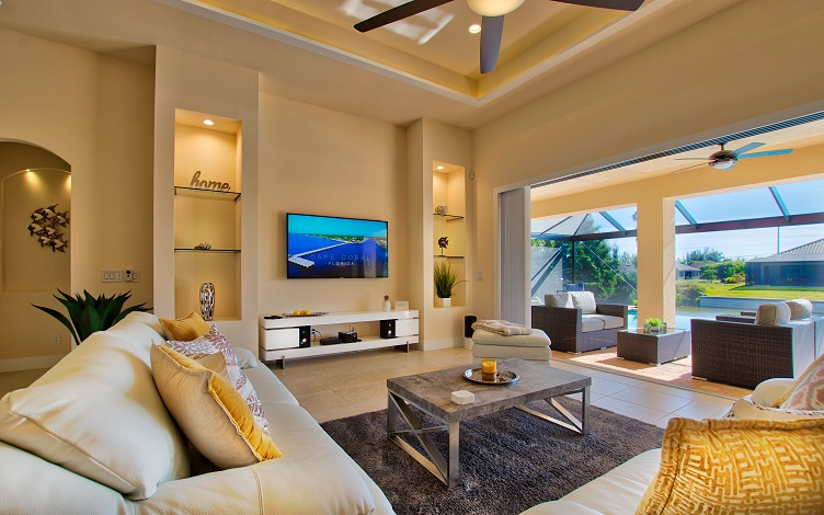 Picture of the New Construction Model Sunset Bay 2 version 2 showing the living area and TV wall