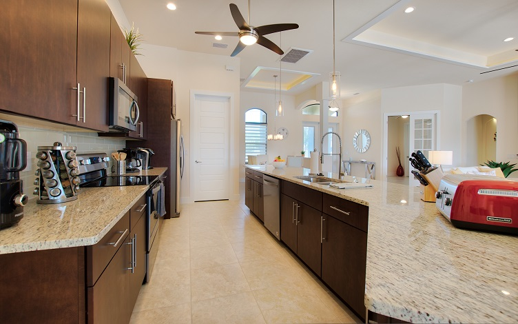 Picture of the New Construction Model Sunset Bay 2 version 2 showing the kitchen and appliances