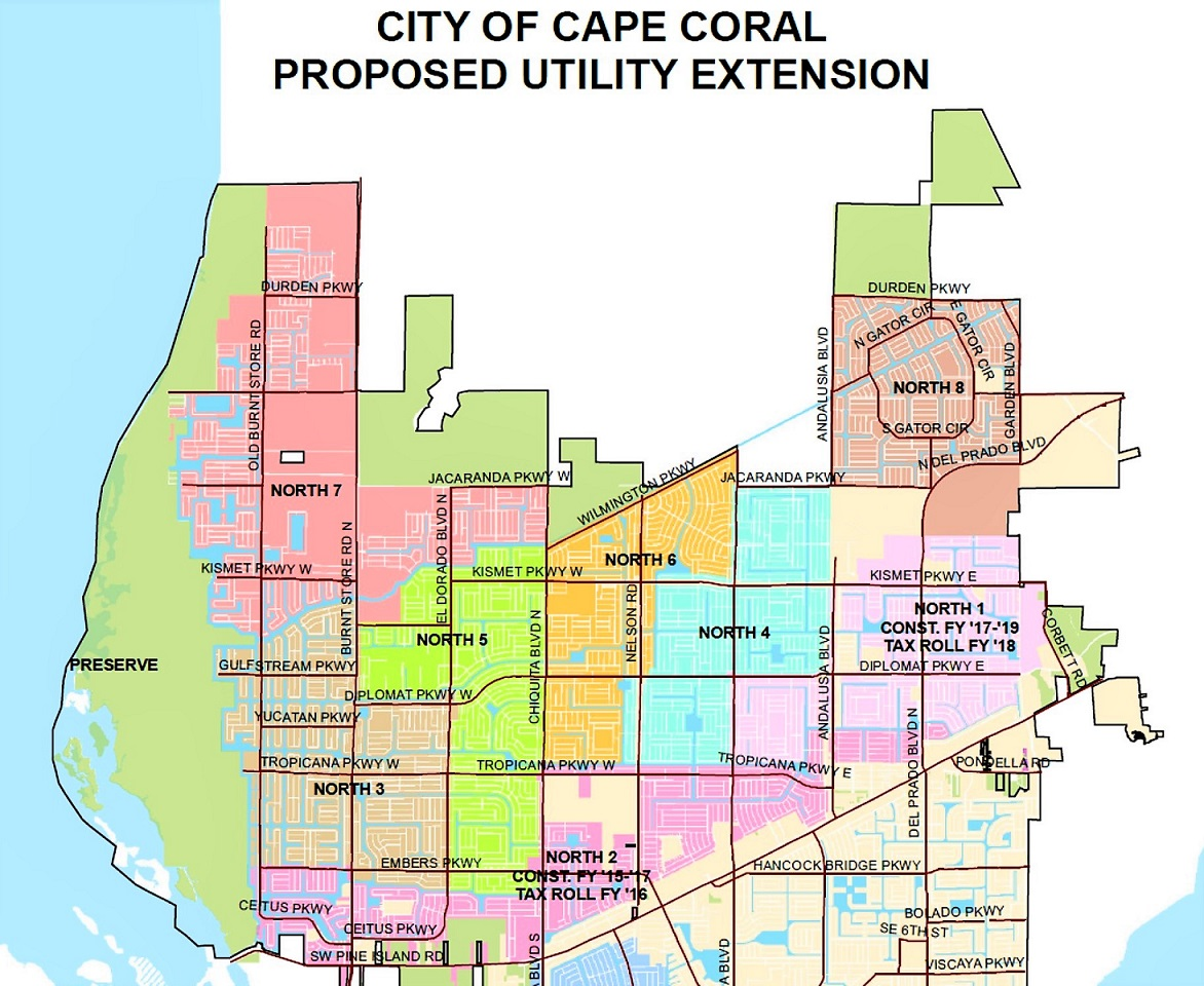 Cape Coral City utility expansion extension Map