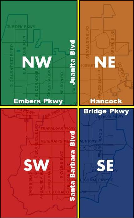 Cape Coral divided into four quadrants map
