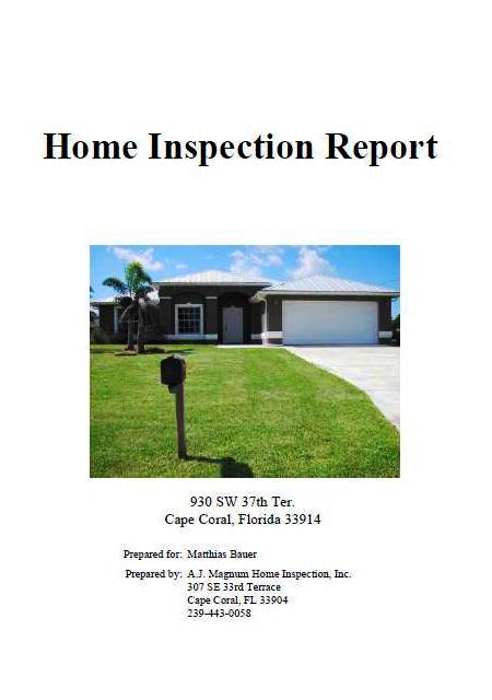 Picture of a home inspection report