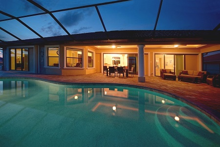 model homes in cape coral florida pool at night