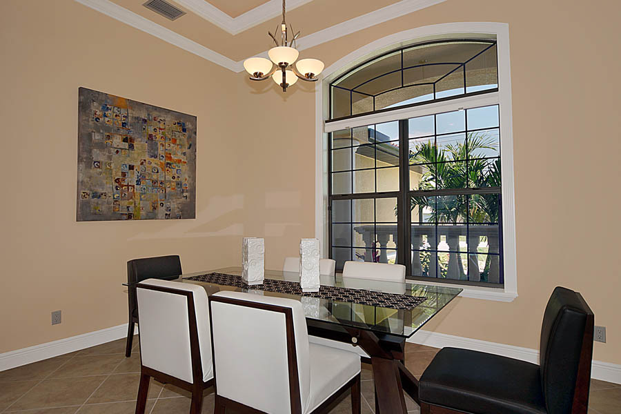 New construction floor plan island oasis dining area