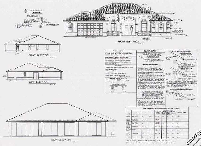 Picture showing home design plans from an architect for the the front elevation of a new home